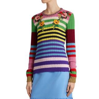 Gucci Floral-appliqu� Striped Wool-blend Sweater
