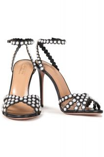Aquazzura Tequila 105 faux pearl-embellished leather sandals