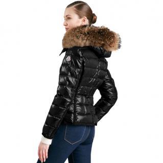 Moncler black fur trim hood padded jacket