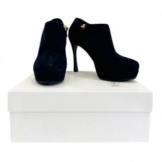 Saint Laurent black suede anklet boots