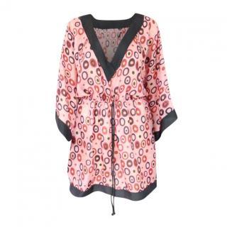 M Missoni light silk pink kaftan dress