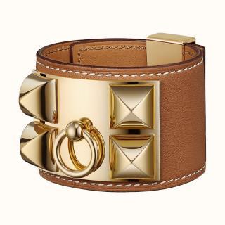 Hermes Gold tan leather Collier de Chien bracelet.