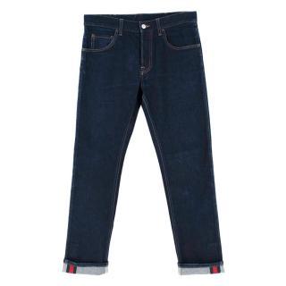 Gucci Blue Denim Web Trim Jeans