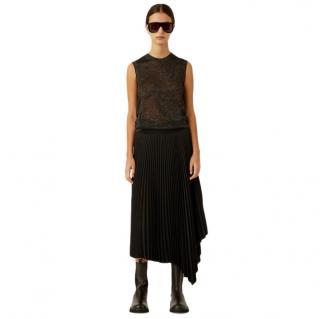 Joseph Black Sabin Knit Weave Plisse Skirt