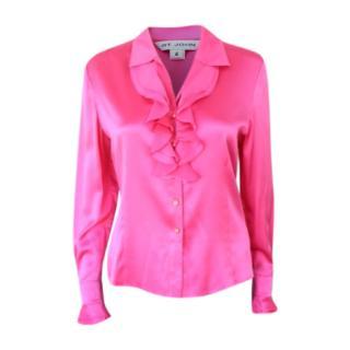 St John pink silk ruffle shirt