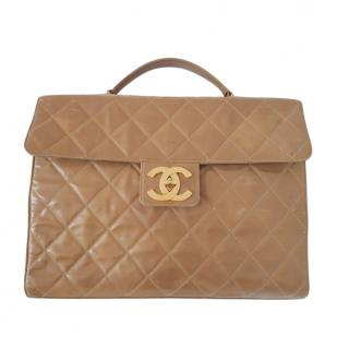Chanel vintage quilted camel patent leather briefcase