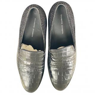 Giuseppe Zanotti men's black sparkle/leather loafers
