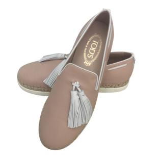 Tod's powder pink tassled loafers