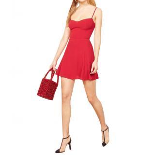 Reformation Cherry Red Scarpetta Mini Dress.