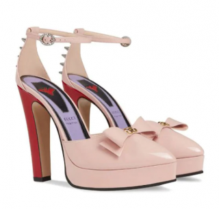 Gucci Patent Double G Bow Spike Ankle Platform Pump