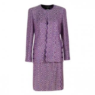 Chanel Purple Lurex Tweed Skirt Suit