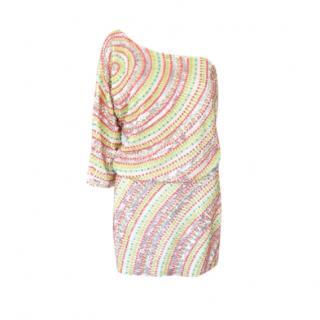 Tibi One-Shoulder Embellished Mini Dress
