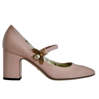 Gucci Pink Block Heel Patent Bee Mary-Janes