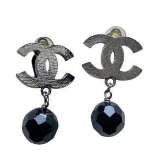 Chanel Silver Tone CC Beaded Drop Earrings