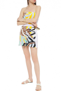 EMILIO PUCCI Strapless printed cotton-blend terry playsuit