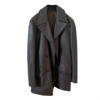 Hermes men's very dark brown leather short coat