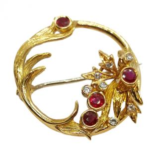Bespoke ruby and diamond floral design 18ct gold brooch