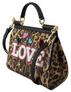 Dolce & Gabbana leopard/LOVE embossed Sicily shoulder/tophandle  bag