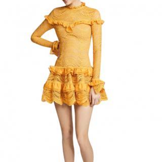 Jonathan Simkhai amber chiffon and lace ruffle dress