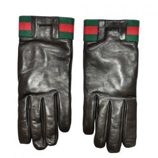 Gucci black leather web striped gloves