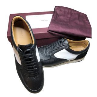 John Lobb black and white leather Porth trainers