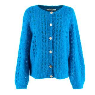 Gestuz turquoise mohair wool blend knit cardigan