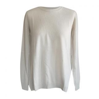 MaxMara beige fine knit round neck cashmere blend sweater