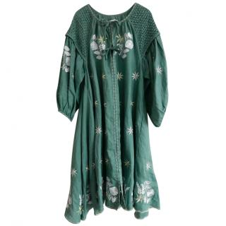 Innika Choo embroidered green linen dress