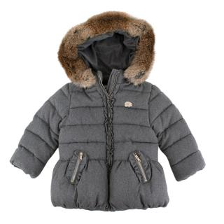 Tartine et Chocolat Grey Padded Rabbit Fur Trim Coat