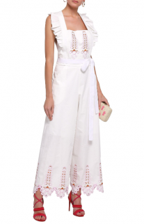 Temperley London Amour Embroidered Cotton-poplin Jumpsuit In White