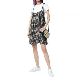 Chanel Black/White Optic Dotted Print Short Dress