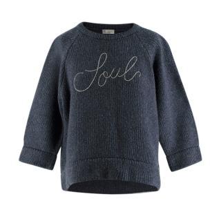 Brunello Cucinelli Blue Cashmere Monili Embroidered Soul Sweater