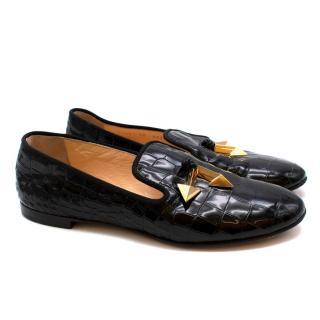 Giuseppe Zanotti Black Patent Embossed Arrow Loafers