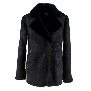 J Brand Black Leather Suede Shearling Motorcycle Jacket