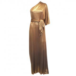 Halston Metallic One Shoulder Draped Gown