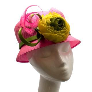 Philip Treacy Pink/Green Natural Fibre Floral Embellished Hat