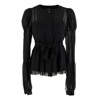 Chanel Black Sheer Pleated Blouse & Cami Top