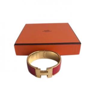 Hermes red enamel clic clac bracelet size PM