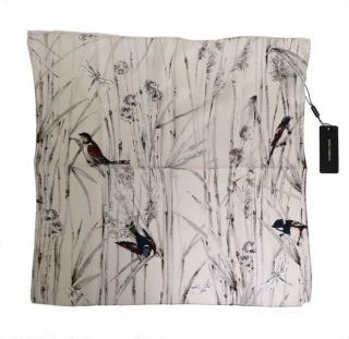Dolce & Gabbana Bird Print White Silk Scarf