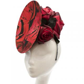 Philip Treacy Rose Print Fascinator with Roses