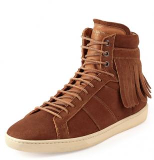 Saint Laurent Suede Fringe-Detail High-Top Sneakers