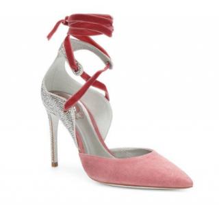Rene Caovilla Crystal Embellished Suede & Velvet Lace-Up Pumps