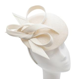 Philip Treacy Cream Woven Fascinator with Sinamay Loops