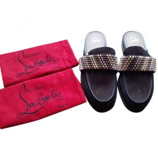 Christian Louboutin Men's Studded Suede Slippers
