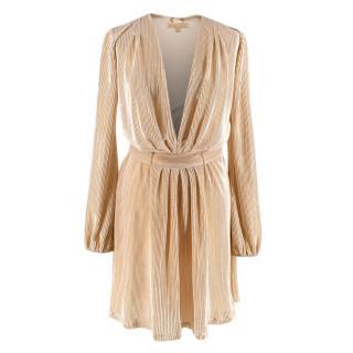 Melissa Odabash Gold Pleated Mini Dress