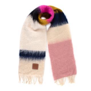 Loewe Mohair & Wool Blend Striped Scarf