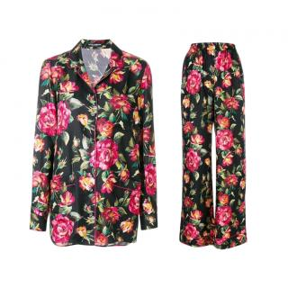 Dolce & Gabbana Roses Print Silk Pyjamas