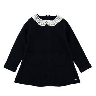 Tartine et Chocolat Navy Wool Blend Long Sleeve Knit Dress