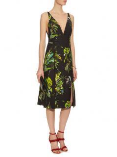 Proenza Schouler Black Tropical Print Cut-Out Dress