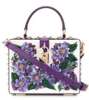 Dolce & Gabbana White & Purple Floral Applique Box Bag
